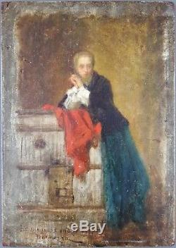 Ancien Tableau Théophile Duverger (1821-1898) Peinture Huile Antique Painting