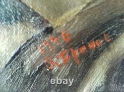 Ancien Tableau Vendanges Automne Ephebe Dionysos Signature A Dechiffrer 1946