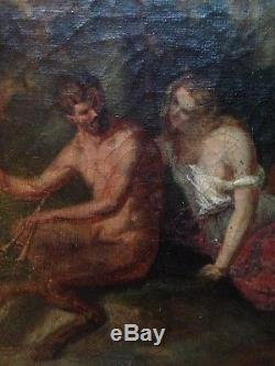 Ancien Tableau XIXe Satyre et Nymphe Putti dans les bois Huile sur toile 19e