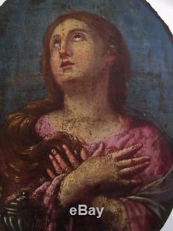 Ancien Tableau Peinture Ovale Huile Xviiie 18e Portrait Femme Religion