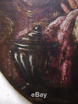 Ancien Tableau peinture ovale huile XVIIIe 18e portrait Femme, Religion Sainte