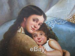 Ancien magnifique tableau maternité mère et fille espagnole gitane non signé
