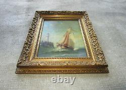 Ancien superbe tableau huile XIXe le phare de Trouville signé Baron 1878 marine