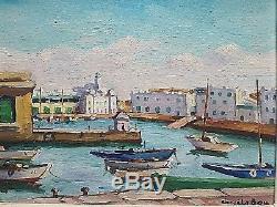 Ancien tableau HSP Port de Alger Orientalisme signé Emile Bou (1908-1989)