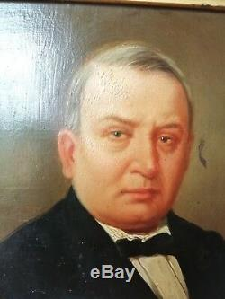 Ancien tableau HUILE sur panneau en bois Portrait d'un Homme au XIXe cadre doré