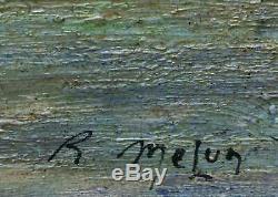 Ancien tableau Marine HSP Retour de pêche animé signé R. Melun + cadre