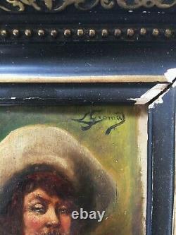 Ancien tableau huile sur panneau portrait XIXème signé a identifier