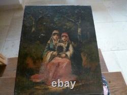 Ancien tableau orientaliste sur bois