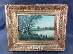 Ancien tableau peinture huile sur bois signé L. HENRY paysage et pêcheur 19ème
