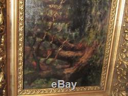 Ancienne Peinture Sous Bois Huile Sur Panneau Signee A Dechiffrer Cadre Dore