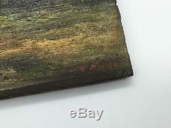 Ancienne Peinture Sur Bois Motif Paysage Et Personnage De Type Breton, Hollande