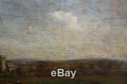 Ancienne huile sur panneau de bois signée Norden, dédicacée, paysage, château