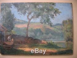 Ancienne peinture Près de la Rivière Glane de Jean TEILLIET (1870-1931)