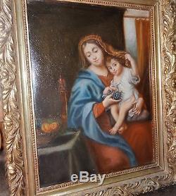 Ancienne peinture huile sur acajou la Vierge au raisin d'après Pierre Mignard