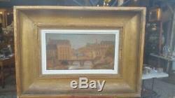 Ancienne peinture huile sur panneau de bois sedan la meuse XIX eme a voire
