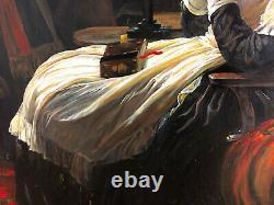 Ancienne peinture représentant la reine Marie-Antoinette avec son cadre doré