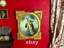 Ancienne peinture représentant une scène mythologique avec son beau cadre doré