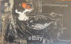 André LIBION (1924-1993) Huile sur bois 1955 Nle Ecole de Paris Jeune Peinture