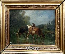 Antonio Cordero Cortès 1827-1908. Beau Tableau Barbizon & Vaches A La Mare
