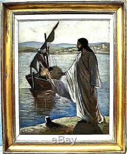 Armenag Missirian Armiss 1901-1977 Christ au lac de Genesareth Cadre 78 x 63 cm