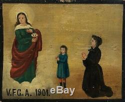 Art Populaire Italie Ex Voto V. F. G. A HsB Daté 1901 Croyance Religion Ange Dieu