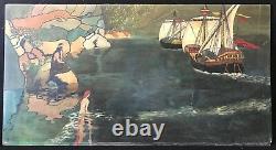 Art nouveau grande peinture sur bois signée illisible 90 cm par 47,7 circa 1900