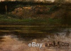 Auguste Joseph DELESSARD tableau paysage cabane lac étang forêt nénuphars arbres