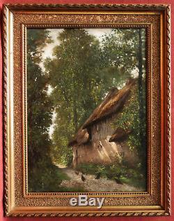 Auguste Joseph DELESSARD tableau paysage poules chaumière forêt Normandie chemin