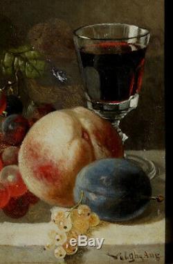 Auguste Velghe, 1866, Fruits Et Vin, Bénézit, Bien Coté! Petit Format