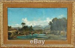 Authentique tableau de MARIUS ENGALIÈRE vers 1850 VUE DE LA SIERRA NEVADA huile