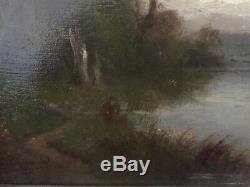 BARBIZON Huile sur panneau de bois Signé G. GAIGNARD XIXè paysage rivière