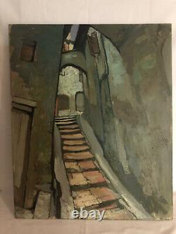 BEAT Robert (1903-1990) ruelle village pays basque tableau ancien huile/panneau