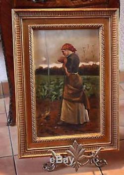 =BEAU PORTRAIT d'jeune paysanne =huile sur bois+cadre
