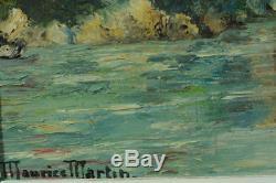 BEAU TABLEAU PAYS BASQUE pont d'Orthez PAYSAGE RIVIERE MAURICE MARTIN 1952
