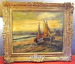 BELLE MARINE d'époque XIX°, ENCADREE, signé L. HENRY. (BRETAGNE)