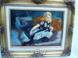 BERTHOMME ST-ANDRE (1905-1977) Claudia sur le divan Huile sur panneau bois