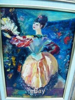 BERTHOMME ST-ANDRE (1905-1977) Danseuse à l'éventail Très belle huile sur bois