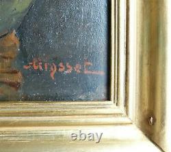 BOUQUET de FLEURS dans un VASE Tableau Ancien XIXe sur Acajou Signé en Rouge