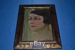 Beau Portrait Art Déco Huile Sur Panneau Signe Louis Pierre Amiel /1889/1980