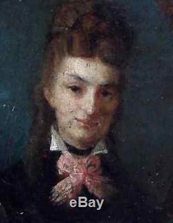 Beau Portrait Impressionniste 1870. Jeune Femme Au Nud Rose. Monogramme Gc
