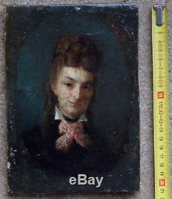 Beau Portrait Impressionniste 1875. Jeune Femme Au Nud Rose. Monogramme Gc