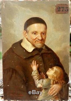 Beau Portrait Peinture sur Bois 1846 SAINT VINCENT DE PAUL Signé Normand