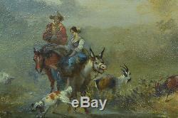Beau Tableau Ancien Paysage Animé Ne Chevaux Chien Boucs 19ème Signé Daté 1866