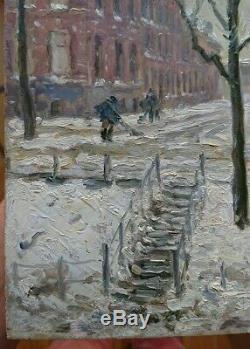 Beau Tableau Ancien impressionniste signé 19eme ville enneigée et animée