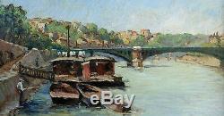 Beau Tableau Impressionniste 1920-1930. Paysage Animé Des Bords De Seine