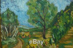 Beau Tableau Paysage Provençal Signé Henri Baret 1936 Cadre Bois Doré Marseille