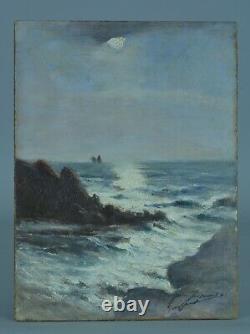 Beau Tableau ancien Paysage Marine Gaston Guignard bord de Mer Bordeaux 19