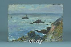 Beau Tableau ancien Paysage Marine Gaston Guignard bord de Mer Phare Bordeaux 19