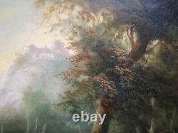 Beau paysage animé, XVIII è s, château, huile sur panneau de bois, encadrée