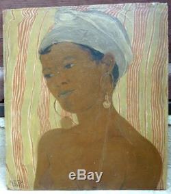 Beau portrait orientaliste de 1938 signé VERA BRAUN 1902-1997 Hongrie